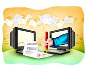 Illustration depicting signing of the online agreement document