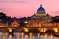 River Tiber, Ponte Sant Angelo and St  Peter´s Basilica at dusk, Rome Lazio Italy