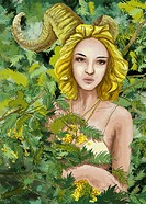 Illustrative image of young woman surrounded by bushes