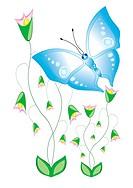 Cartoon butterflies with flowers