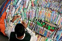 Street toothbrush shop, Bangladesh.