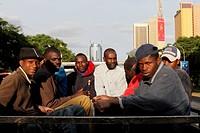 Traveling workers in Nairobi, Kenya.