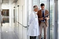 Doctor attending to seller, Corridor, Onkologikoa Hospital, Oncology Institute, Case Center for prevention, diagnosis and treatment of cancer, Donosti...