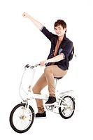 Happy asian young man on a bicycle isolated on white background