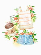 coffee, sleeveless shirt, and short