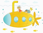 illustration of human cartoon characters and a submarine