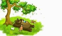 illustration of kids and a bear having a rest under a tree