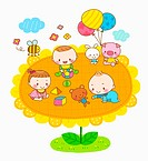 illustration of babies playing on sunflower