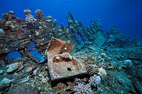 Wreckage of Heaven One Wreck, Abu Dabab Reef, Red Sea, Egypt