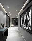 Penthouse Development, London, United Kingdom. Architect: na, 2012. Overall interior View_Corridor towards kitchen.