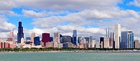 Chicago skyline over Lake Michigan