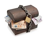 Old treasure_chest full of euro paper money