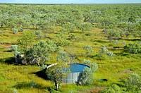 Water bore and storage tank, Mornington Wildlife Sanctuary, central Kimberley, Western Australia