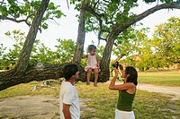 Family taking pictures in park