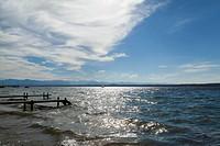 Wooden piers over ocean