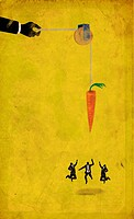 Illustrative image of business people jumping for carrot depicting competition for incentive