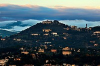 Fiesole´s village photographed from Michelangelo´s Square at dusk sunset in Florence, Italy