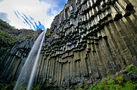 Svartifoss waterfall in Skaftafell National Park located in the south of Iceland with basalt columns around it