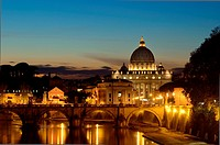 Captured from bridge Umberto I, this photo shows St  Peter´s Basilica, Via Della Conciliazione and Ponte Sant´ Angelo St  Angel Bridge with early stre...