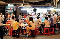 Malaysia, Penang, Georgetown, street food stall at night,