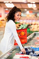 Woman Buying Frozen Food