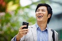Businessman smiling happily