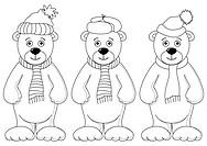 Teddy bears in winter costume, contours