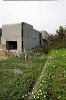 Exterior modern home under construction
