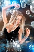 Girl at night disco club