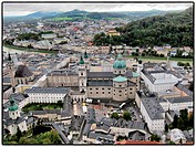 Rooftops of town and river, Salzburg, Austria