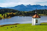 lake and chapel at alps in Bavaria, Germany