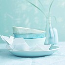 Plate and bowls in shades of blue