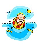 Funny little boy swimming in water. Vector illustr