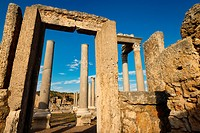 Stone door frame to the Agora ruins at the Perge archaeological site Turkey