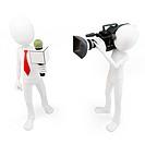 3d man reporter and cameraman crew