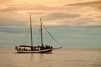 Old whaler tall ship converted for tourist whale watching. Husav