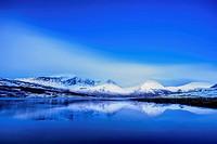 UK, Scotland, View of snow mountains at Torrin