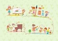 illustration images of learning different subjects