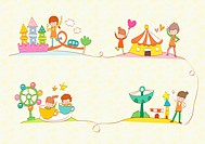 illustration images of people in amusement park