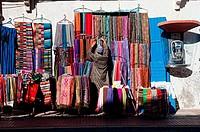 Textile shop in Essaouira medina, Morocco.
