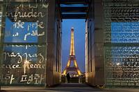 Wall of peace and tour Eiffel, Paris, Ile de France, France.