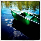 Green canoe on rural lake