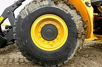 Muddy Tire on Bulldozer