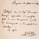 Study certificate given by Giuseppe Verdi to his pupil Emanuele Muzio, 1844.