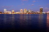 Norfolk, VA, Virginia, Hampton Roads Area, skyline, evening