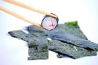 Sushi, dish made from marine red algae Porphyra sp.