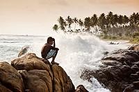 galle beach in sri lanka.