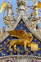 Venice (Italy). Architectural detail of the facade of the Basilica of San Marco in Venice city.