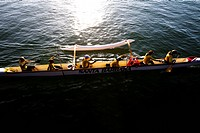 The women's Santa Barbara Outrigger Team practices on April 28, 2012 off the coast of Santa Barbara, California.
