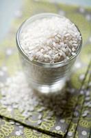 Arborio rice in a glass